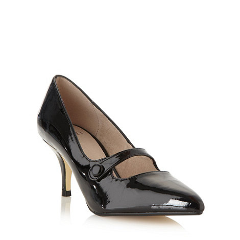 Faith - Black patent bar mid court shoes
