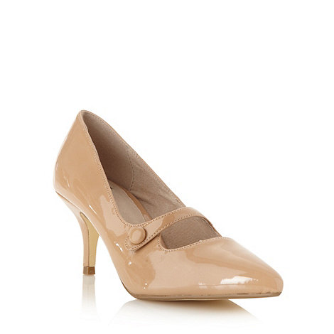 Faith - Natural patent mid heel court shoes