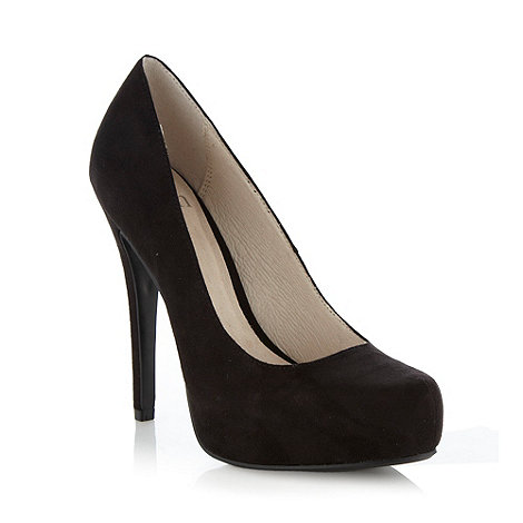Faith - Black suedette high court shoes