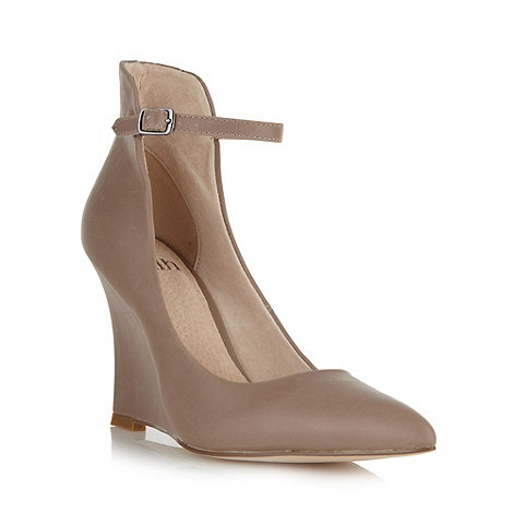 Faith - Taupe ankle strap high wedge court shoes