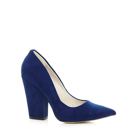 Faith - Navy suedette block heel shoes