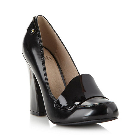 Faith - Black patent heeled court shoes