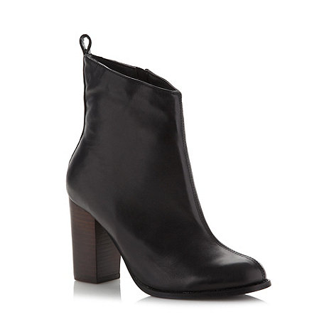 Faith - Black leather stacked high ankle boots