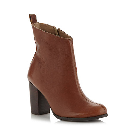 Faith - Tan leather stacked high ankle boots