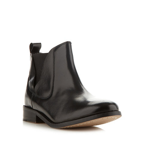 Faith - Black leather chelsea ankle boots