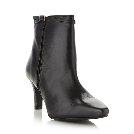 Faith - Black fine buckled mid heeled ankle boots