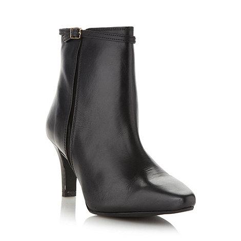 Faith - Black fine buckled mid heeled ankle boots