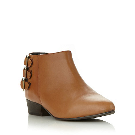 Faith - Tan leather buckled low heel ankle boots