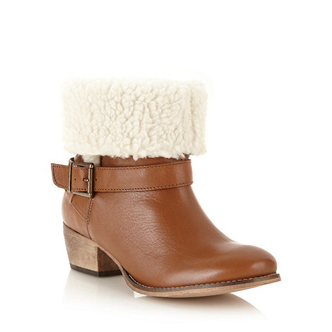 Faith - Brown fleece lined leather ankle boots