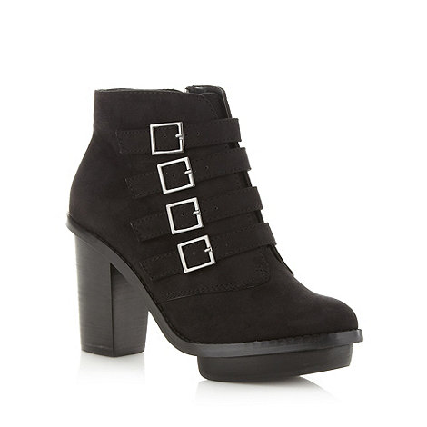 Faith - Black four buckle high ankle boots