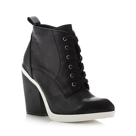 Faith - Black lace up high ankle boots
