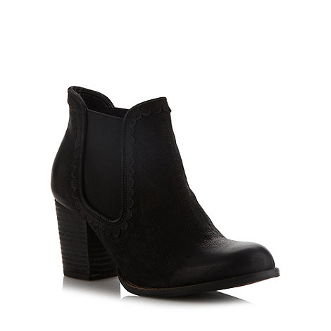 Faith - Black scalloped mid chelsea boots