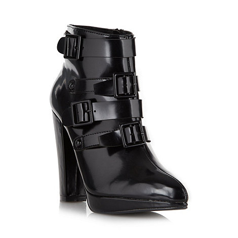 Faith - Black buckled high ankle boots