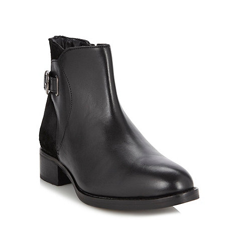Faith - Black mixed leather buckle trim ankle boots