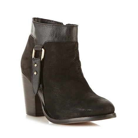 Faith - Black leather tab trim high ankle boots