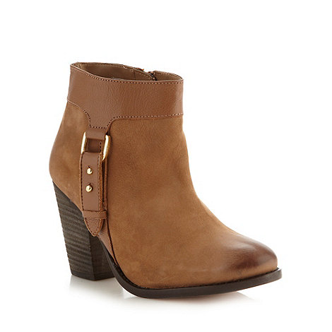 Faith - Tan leather tab trim high ankle boots