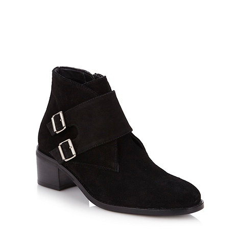 Faith - Black suede double buckle mid ankle boots