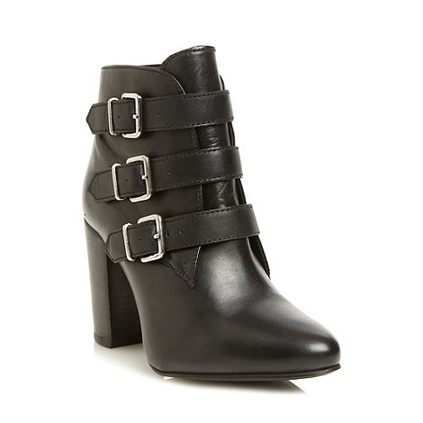 Faith - Black leather buckle strap boots
