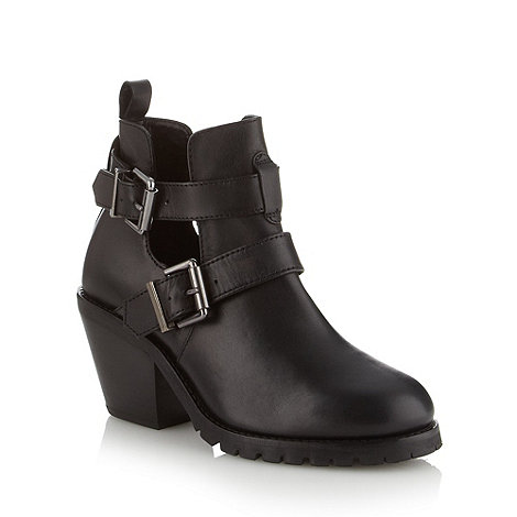 Faith - Black leather cut out mid ankle boots