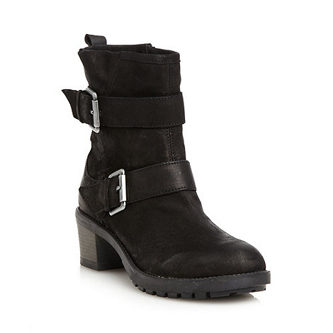 Faith - Black leather double buckle mid heeled ankle boots