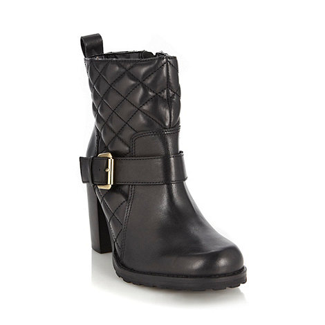 Faith - Black leather quilted high ankle boots