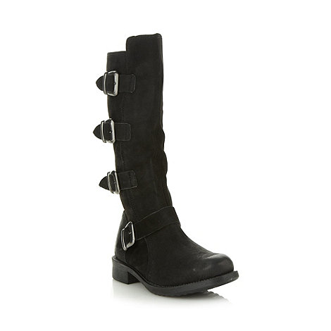 Faith - Black leather four buckle low boots