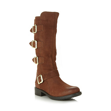 Faith - Tan leather four buckle low boots