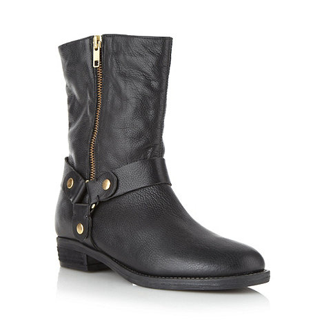 Faith - Black leather mock zip low heel ankle boots