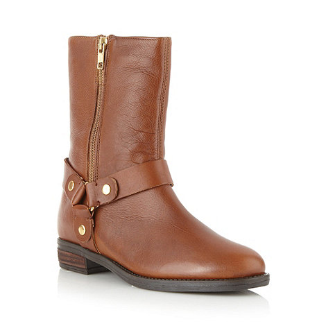 Faith - Tan leather mock zip low heel ankle boots