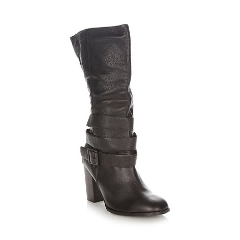 Faith - Black leather high heel boots
