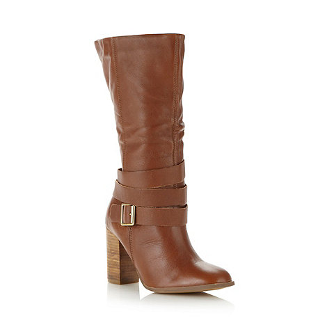 Faith - Tan leather calf length high boots