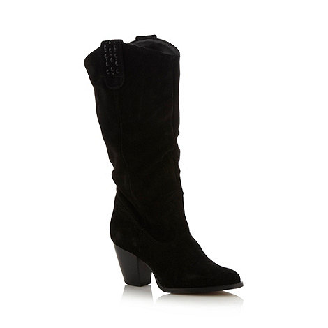 Faith - Black suede mid calf boots