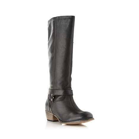 Faith - Black leather knee length mid boots