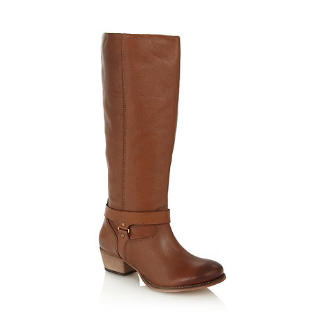 Faith - Tan leather knee length mid boots