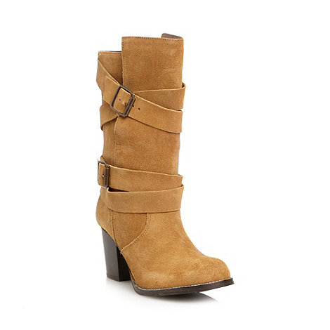 Faith - Tan suede double buckle high heeled boots