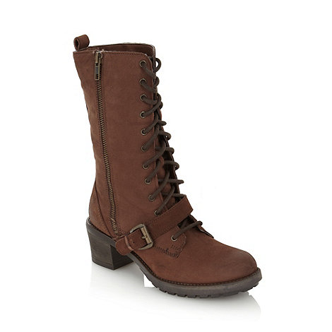 Faith - Chocolate leather lace up boots