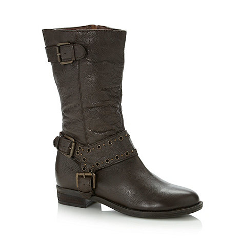 Faith - Chocolate leather eyelet studded buckle trim boots