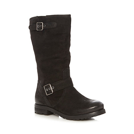 Faith - Black suede leather buckle calf boots