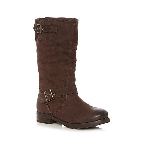 Faith - Chocolate suede leather buckle calf boots