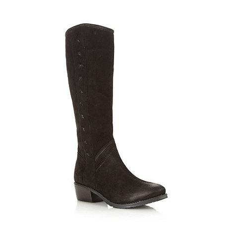 Faith - Black leather knee length mid boots