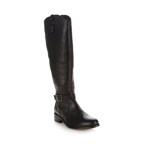 Faith - Black leather mid heel high leg boots