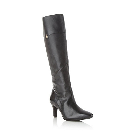 Faith - Black leather mid heel knee high boots