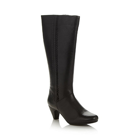 Faith - Black mid heeled high leg boots