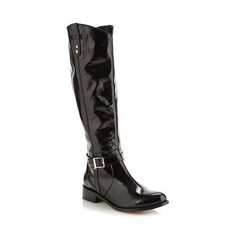 Faith - Black patent knee length boots