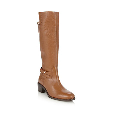 Faith - Tan grained leather high leg boots