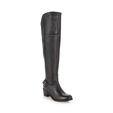 Faith - Black leather mock zip back high leg boots