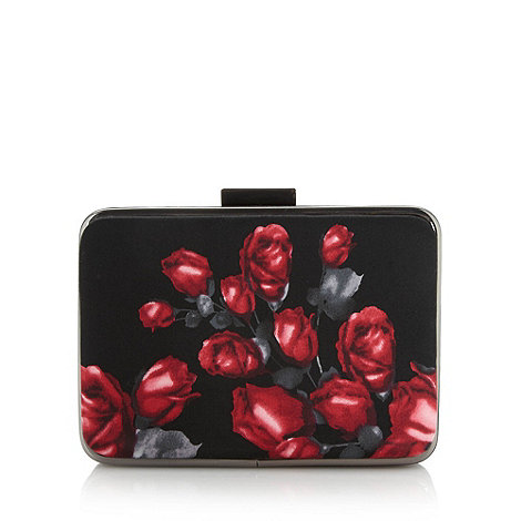 Faith - Black floral framed clutch bag