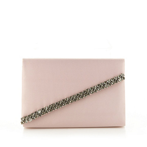 Faith - Pale pink satin clutch bag with diamante trim