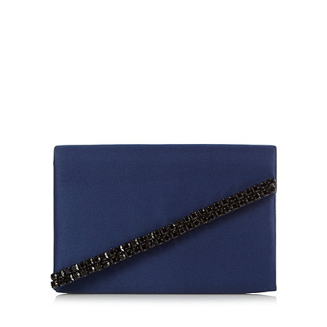 Faith - Navy blue satin clutch bag with diamante trim