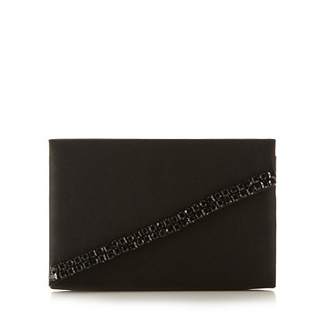 Faith - Black rhinestone trim clutch bag